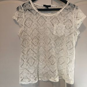 Women's white lace top